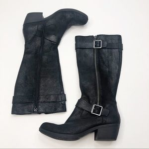 Korkease Tall Black Textured Boots with Buckles